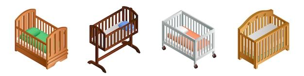 Crib icon set, isometric style Premium Vector