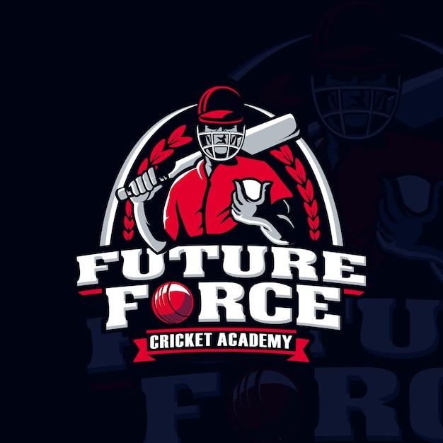 Cricket academy sport player logo Premium Vector