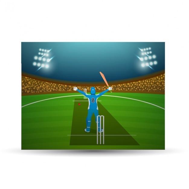 cricket background with bowler vector premium download