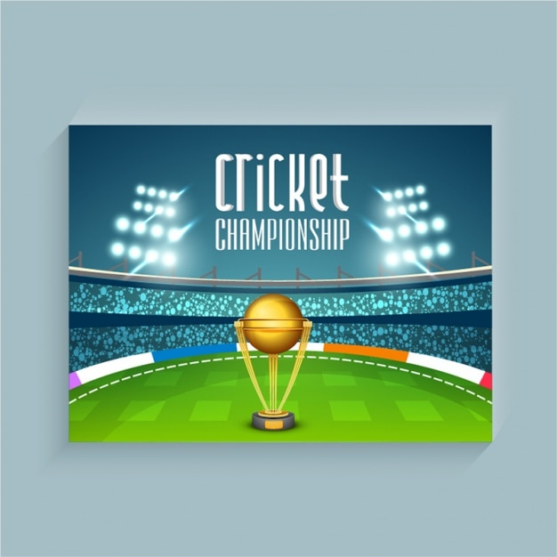 Cricket Background With Stadium And Trophy Vector