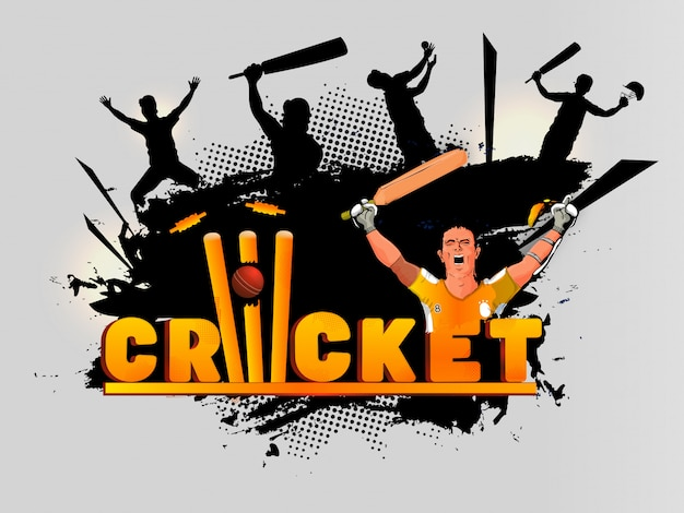 Cricket background. Premium Vector