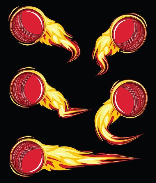 Cricket ball on the fire symbols speed set Premium Vector