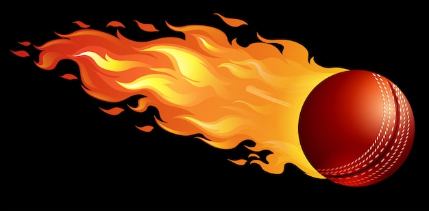 Cricket ball on fire Free Vector