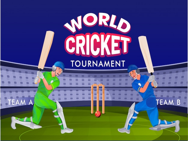 Cricket batsman of team a and team b on night stadium ground Premium Vector