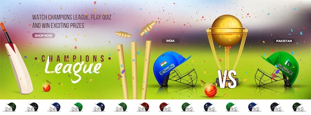 Cricket Champions League social media banner\ design with participant countries batsman helmets and golden\ trophy.