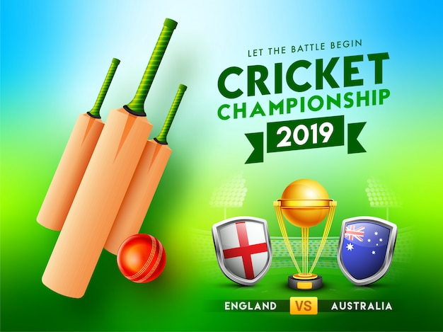 Cricket championship 2019 concept. Premium Vector