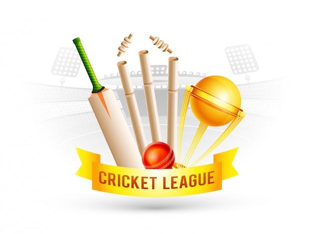 Cricket championship concept. Premium Vector