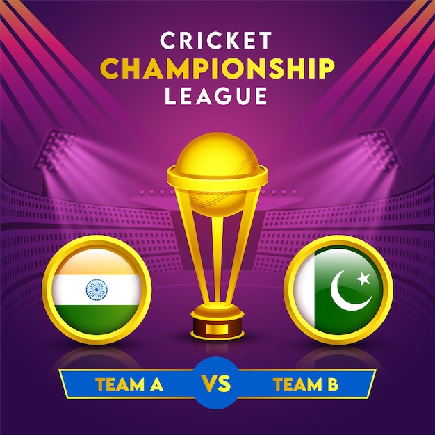 ゴールデンウイニングトロフィーカップとサークルフレームのインド対パキスタンの参加国の旗のクリケット選手権リーグコンセプト。 Premiumベクター
