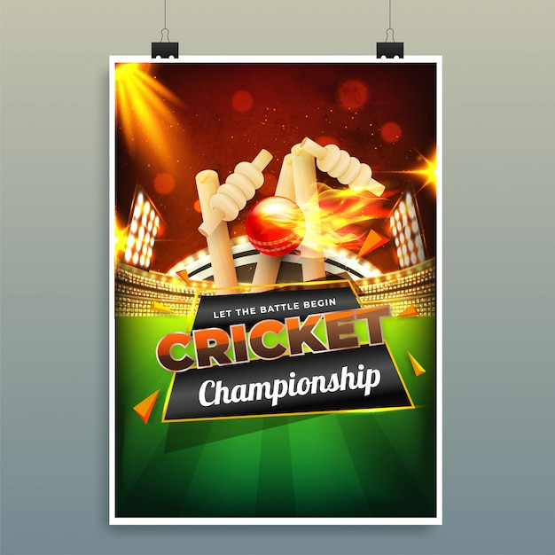 Cricket championship template Premium Vector