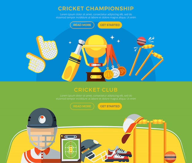 Cricket club and championship banners Free Vector