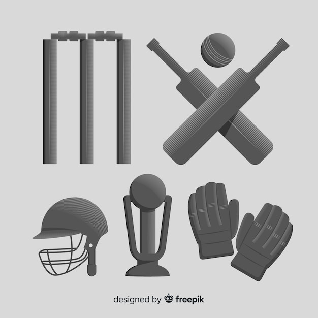 Cricket elements silhouette collection Free Vector