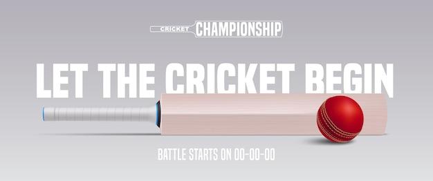 クリケットゲームの背景。ボールとバットのイラストを使ったクリケットの試合の発表 Premiumベクター