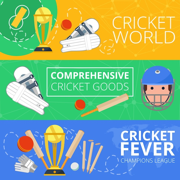 Cricket horizontal banners flat Free Vector