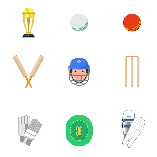 Cricket icons set flat Free Vector