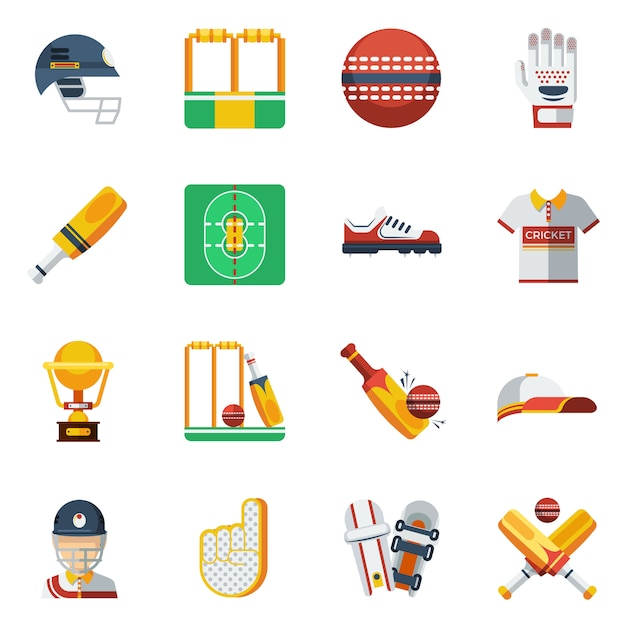 Cricket icons set Free Vector