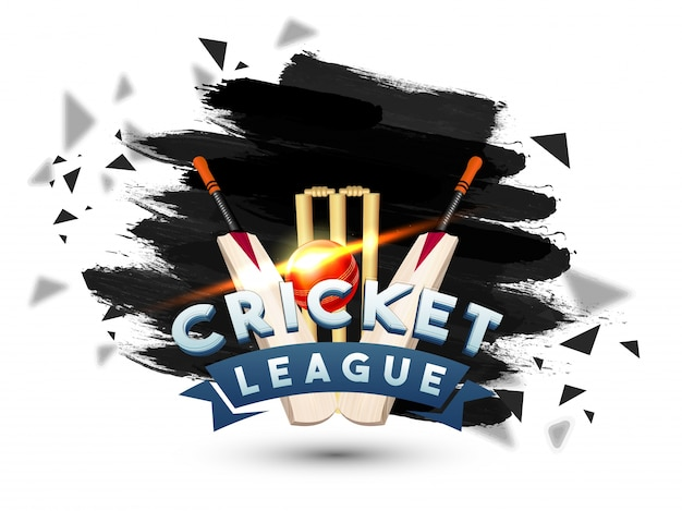 Invitation For Corporate Cricket Tournament: Cricket League Abstract Brush Stroke Background With Bats