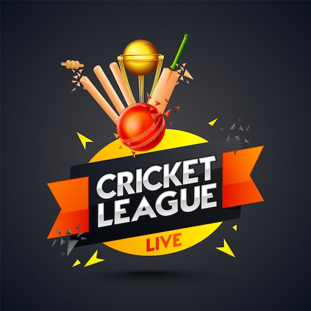 Cricket league template or poster design Premium Vector