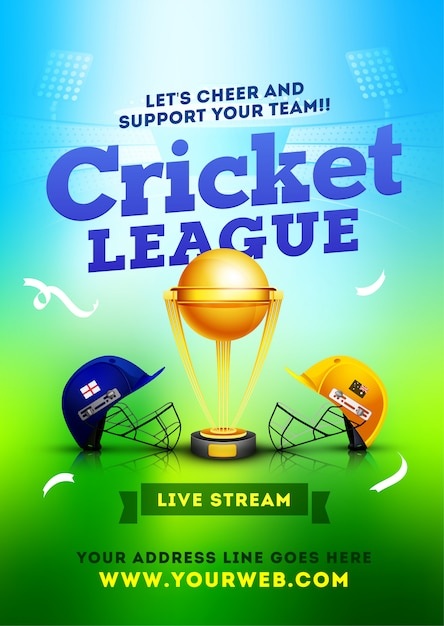 Cricket league between two teams Premium Vector