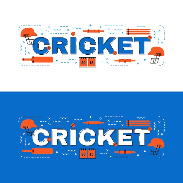 Cricket  lettering flat line design with icons Premium Vector