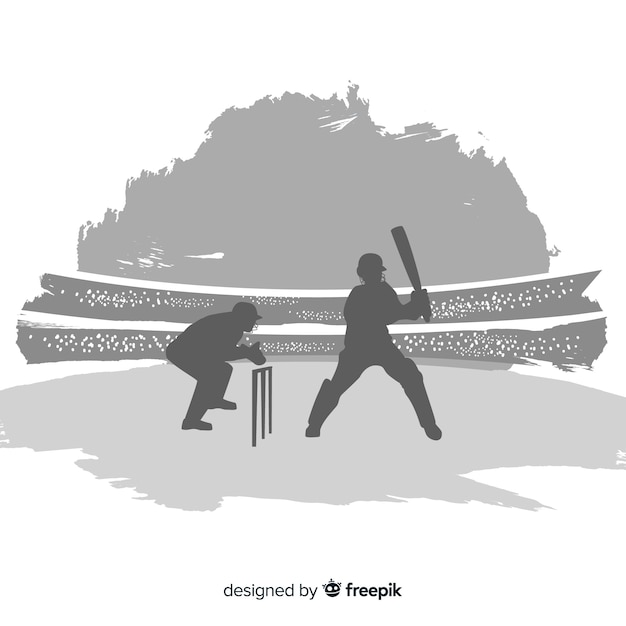 Cricket player sihouette Free Vector