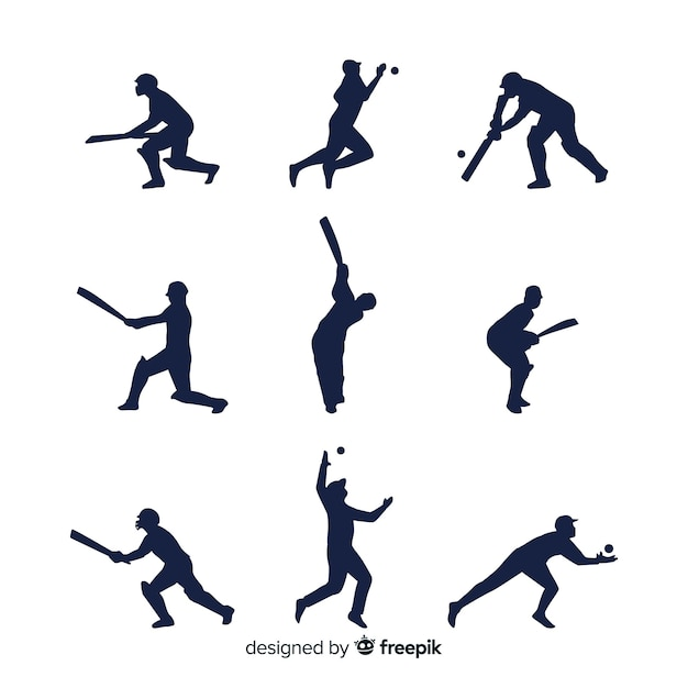 Cricket player silhouette collection Free Vector