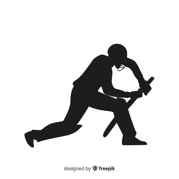 Cricket player silhouette Free Vector