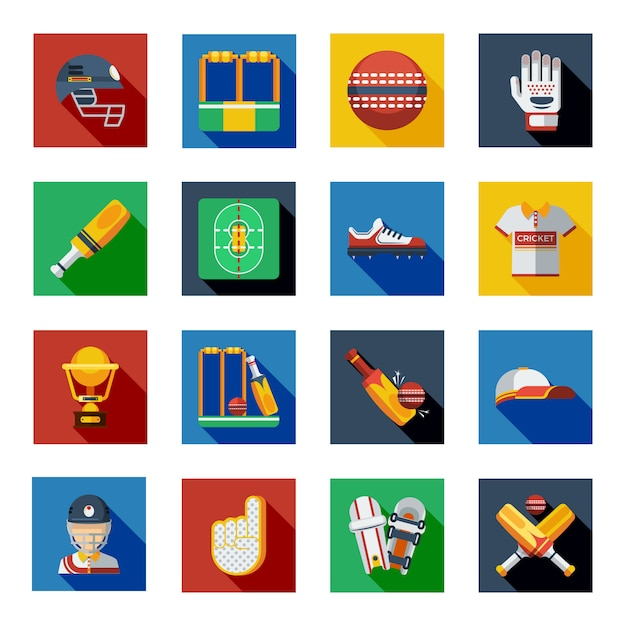 Cricket shadow icons set Free Vector