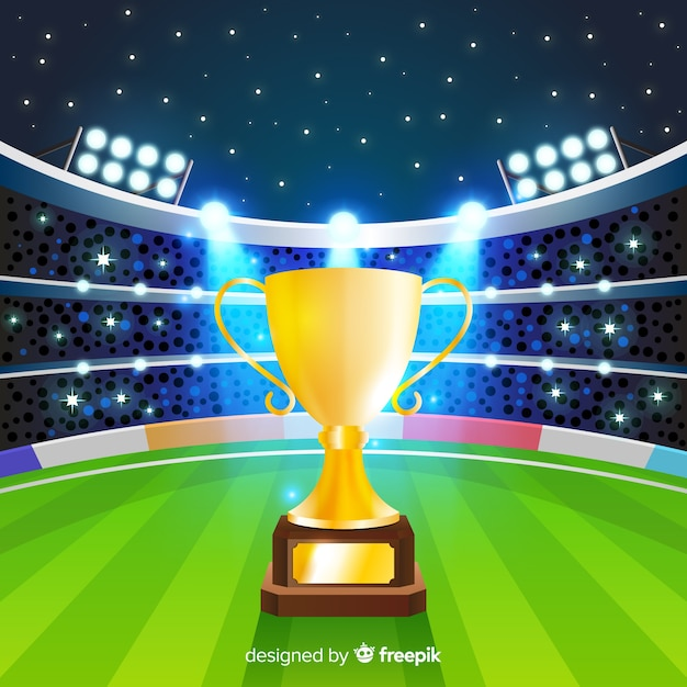 Cricket stadium background with cup Free Vector
