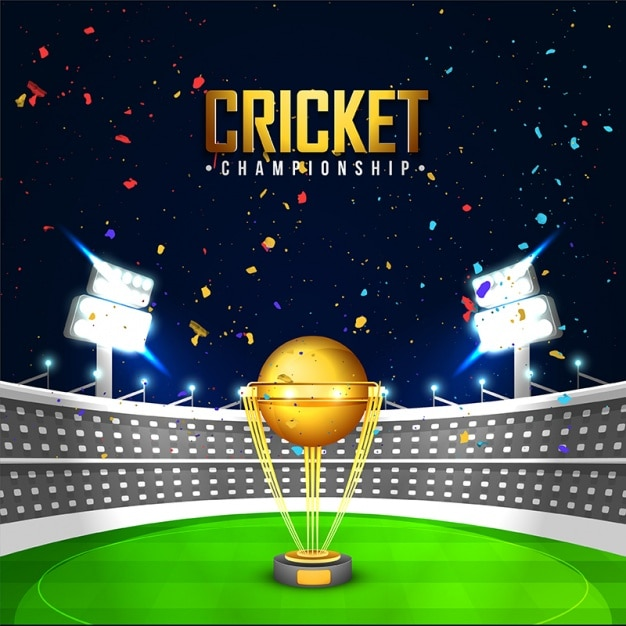 Cricket Stadium Background With Golden Cup Vector