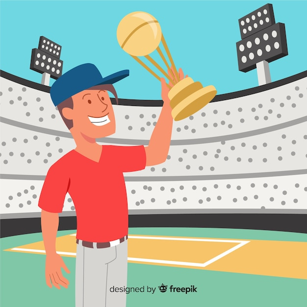 Cricket stadium background with player showing cup Free Vector