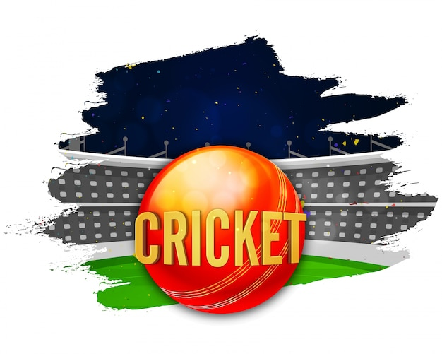 Cricket Stadium with red ball, Creative\ abstract brush stroke background for Sports concept.