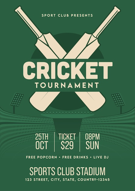 Cricket tournament template or flyer  in retro style with venue details. Premium Vector