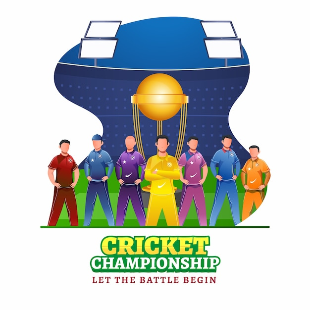 Cricketers character in different color attire with winning trophy cup on abstract stadium background for cricket championship. Premium Vector