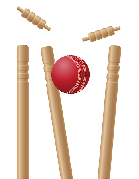 Criket wickets and ball vector illustration Premium Vector