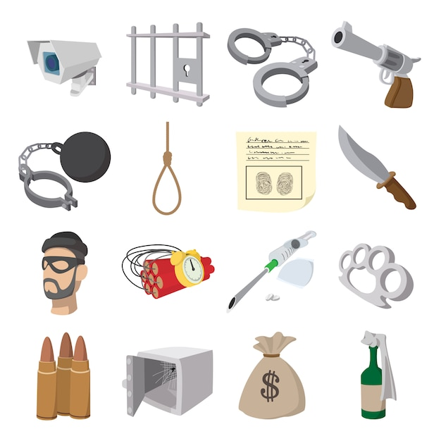Crime cartoon icons set for web and mobile devices Premium Vector