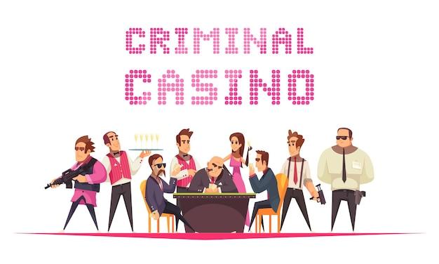 Преступное казино с текстом и мультяшным стилем человеческих персонажей с членами мафиозной банды Бесплатные векторы