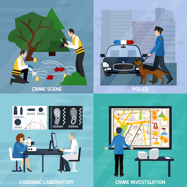 Crime investigation flat design concept Free Vector