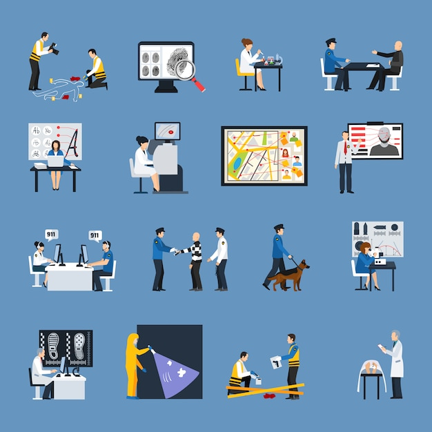 Crime investigation flat icons set Free Vector