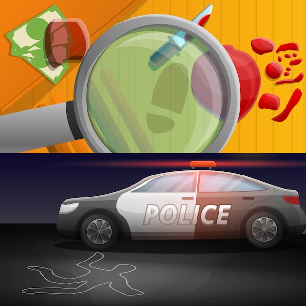 Crime investigation illustration set on cartoon style Premium Vector