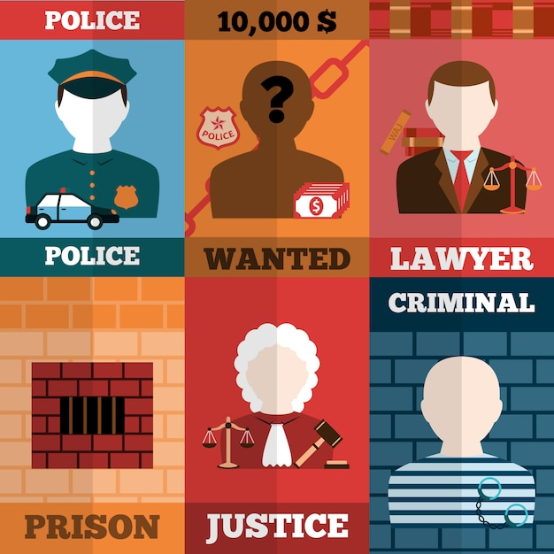 Crime and punishment avatars illustration set Free Vector