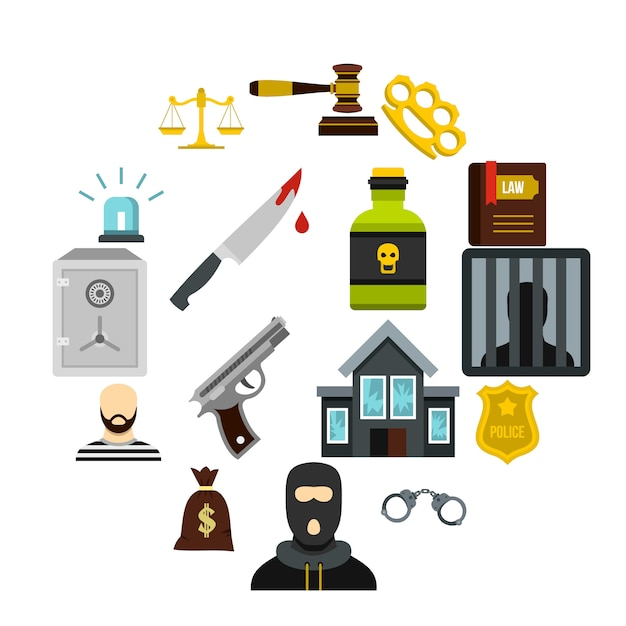 Crime and punishment icons set, flat style Premium Vector