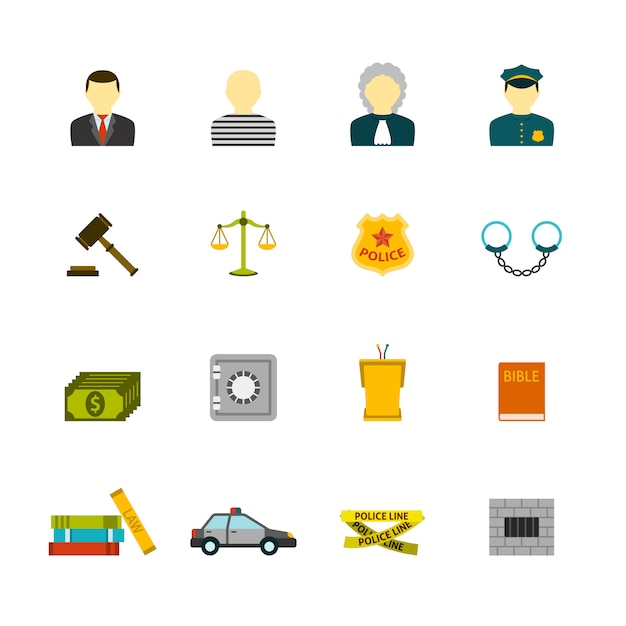 Crime and punishments icons set Free Vector