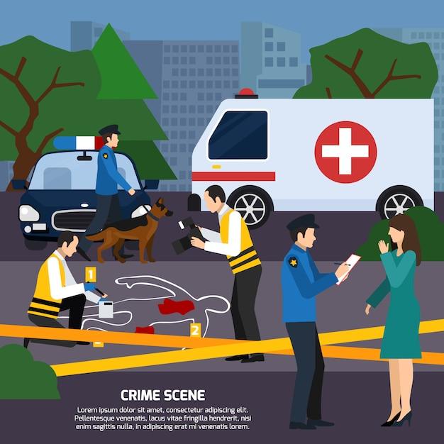 Crime scene flat style illustration Free Vector