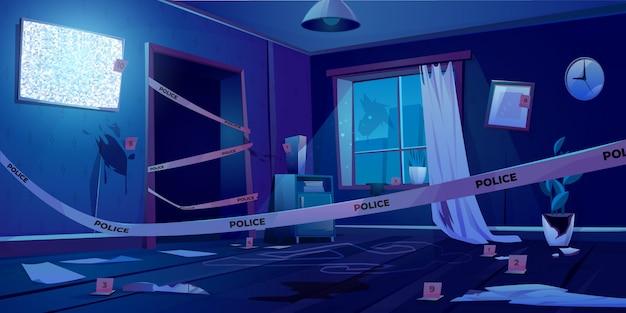 Scena del crimine di notte, luogo del delitto in una stanza buia Vettore gratuito