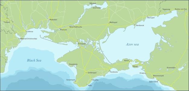 Крым - полуостров, расположенный на северном побережье черного моря. Premium векторы