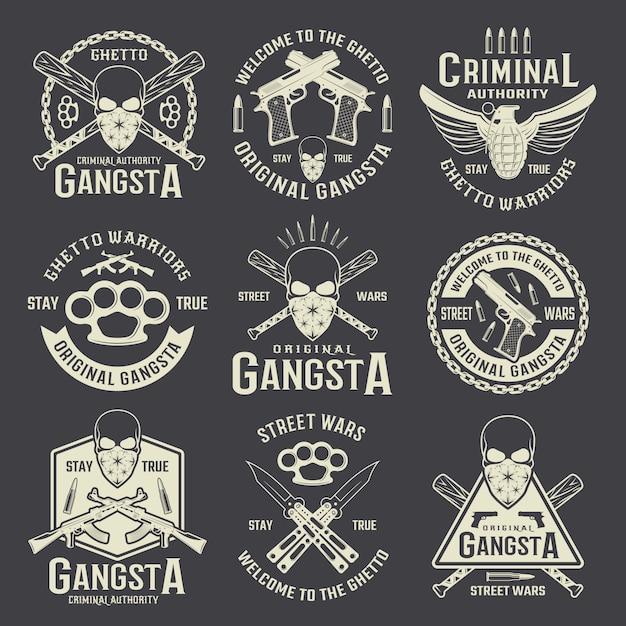 Монохромные эмблемы криминальной власти Бесплатные векторы