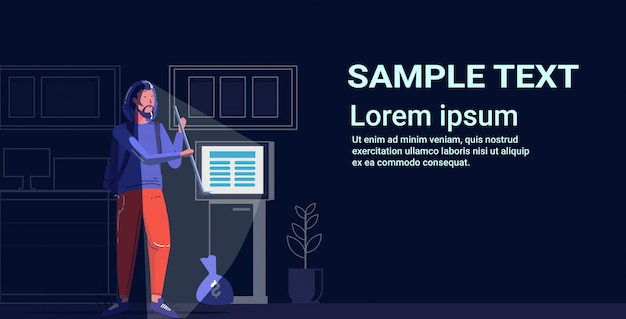 Criminal character using crowbar thief stealing money from atm theft concept modern night bank interior full length sketch  copy space Premium Vector