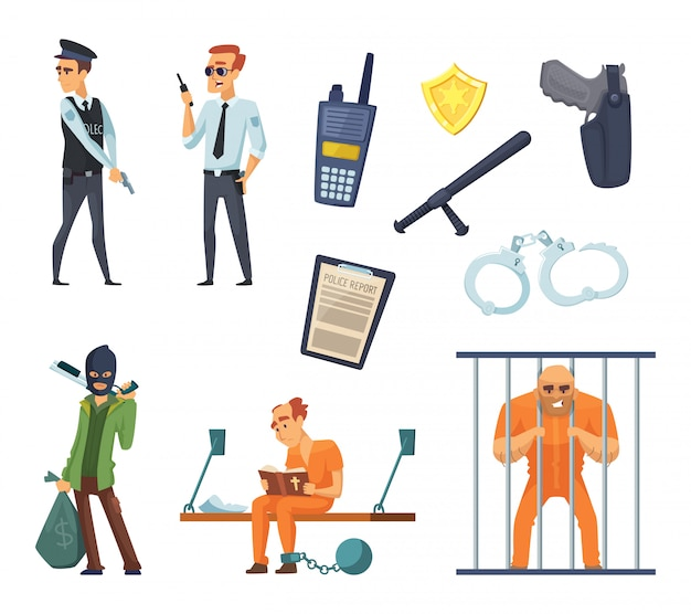 Criminal characters and policemen Premium Vector