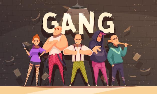 Преступная банда в агрессивном отношении Бесплатные векторы