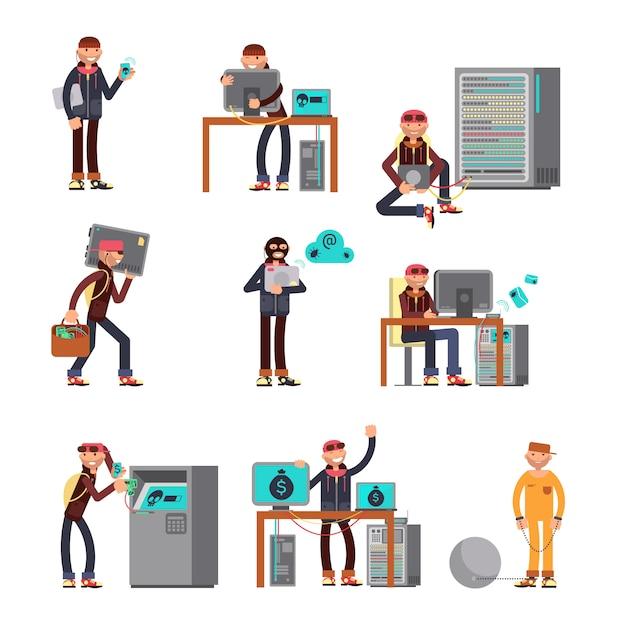 Criminal hackers breaking computer bank accounts. Premium Vector